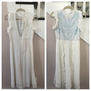 ASOS Premium White and Blue Embroidered Midi Dress